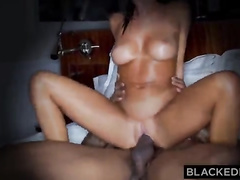 Interracial sex as seen through the keyhole. August's boyfriend watches his busty wife eat ass, ride cock, and get fucked by her well-endowed black bull. It's awesome.