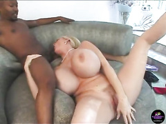 Huge titted white milf Kayla spitroasted by two BBC's