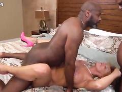 Big boobs blonde MILF gets gang-banged by black guys